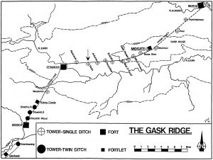 Plan of the Gask Ridge, marking Raith